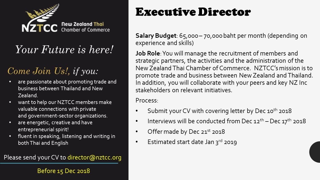 Job Vacancy - Executive Director - NZTCC